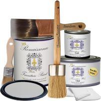 Retique It Chalk Finish Paint by Renaissance - Non Toxic, Eco-Friendly Chalk Furniture & Cabinet Paint - Deluxe Starter Kit, Argentine