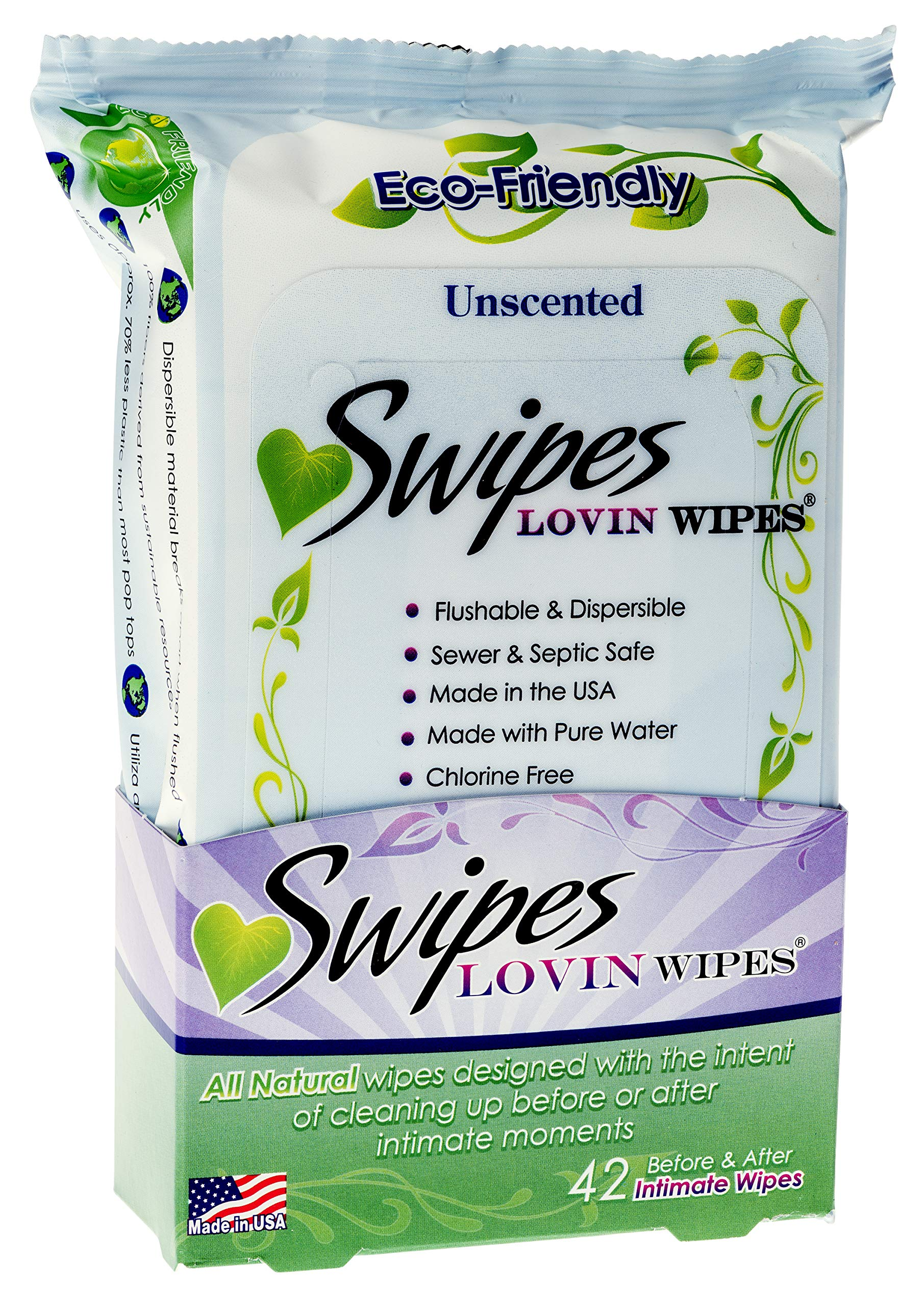 Swipes Lovin All Natural Intimate Feminine Wipes | Aloe & Vitamin E, Free of Chlorine & Dyes, pH-Balanced & Flushable | Unscented, 42 Count, 1 Pack