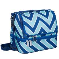Wildkin Kids Two Compartment Insulated Lunch Bag for Boys and Girls, Perfect Size for Packing Hot or Cold Snacks for School and Travel, Lunch Bags Measures 9 x 8 x 6 Inches, BPA-free (Chevron Blue)