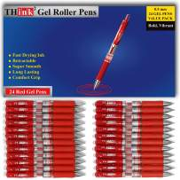 [24 Pens - Red Ink] Think2 Retractable Gel Pens. (24 Red) Fine Point (0.5mm) Rollerball Pens with Comfort Grip.