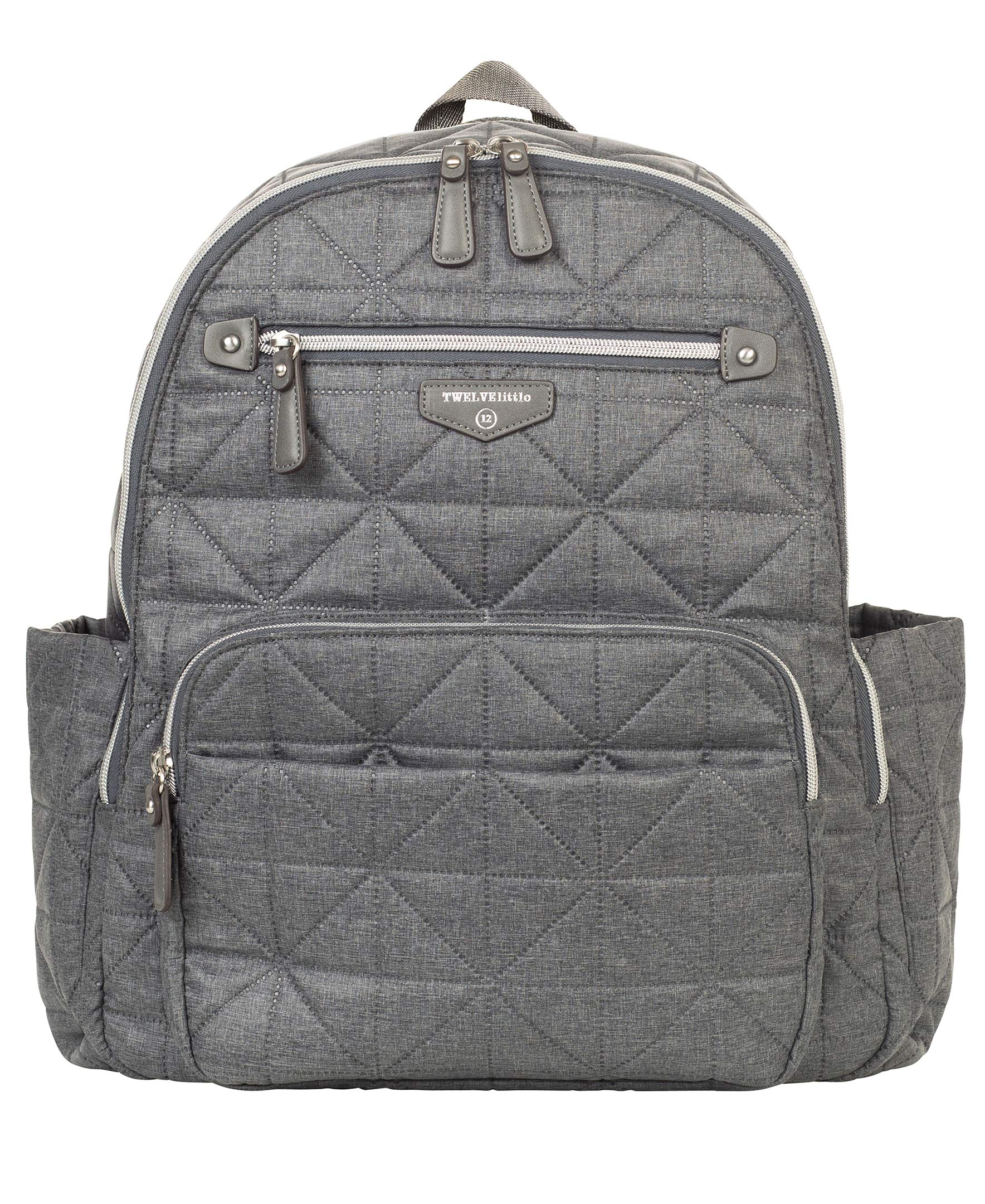 TWELVElittle Companion DiaperBag Backpack 2.0 (Denim) - Fashionable Diaper Bag Backpack for Moms or Dads, Diaper Backpack with Lots of Pockets to Carry Baby Products
