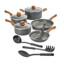 BELLA 12-Piece Cookware Set with Saucepans, Fry Pans & Cooking Utensils, Charcoal & Wood Grain