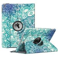 """Fintie Rotating Case for New iPad 7th Generation 10.2 Inch 2019 - [Built-in Pencil Holder] 360 Degree Rotating Smart Protective Stand Cover with Auto Sleep/Wake for iPad 10.2"""", Emerald Illusions"""