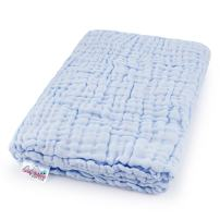 Coney Island Cotton Light Blue Muslin 6 Layer Multi Use Blanket Or Baby Towel Natural Antibacterial Large 45 x 45 Inches Fluffy, Warm & Soft Absorbent
