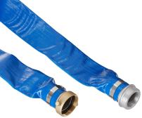 """Apache 98138040 2"""" x 25' Blue PVC Lay-Flat Discharge Hose with Aluminum Pin Lug Fittings"""