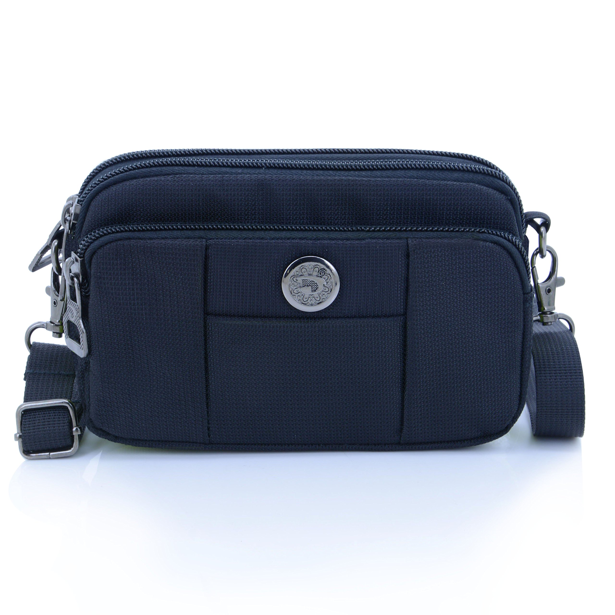 liangdongshop Essential Phone Belt Clip Waist Hip Pack Travel Messager Purse Crossbody Bag 3 Way Universal Water Resistant(Horizontal-Black)