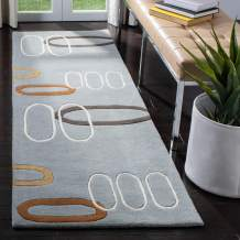 "Safavieh Soho Collection SOH801B Handmade Modern Abstract Blue and Multi Premium Wool Runner (2'6"" x 8')"