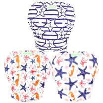 Wegreeco Baby & Toddler Snap One Size Adjustable Reusable Baby Swim Diaper (Starfish, Large, 3 Pack)