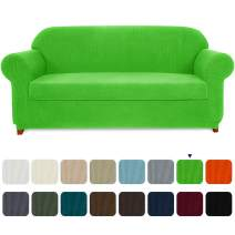 subrtex Sofa Cover 2 Piece Stretch Couch Slipcovers Furniture Protector for Armchair Loveseat Washable Soft Jacquard Fabric Anti Slip, X-Large, Grass Green