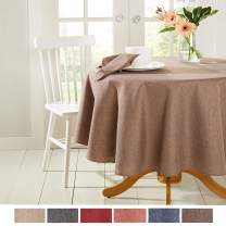 """Town & Country Living Somers Modern Farmhouse Tablecloth, Picnic/Indoor Outdoor/Stain Resistant/Machine Washable Polyester, 70"""" Round Brown"""
