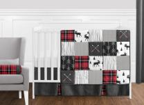 Grey, Black and Red Woodland Plaid and Arrow Rustic Patch Baby Boy Crib Bedding Set by Sweet Jojo Designs - 11 Pieces - Flannel Moose Gray