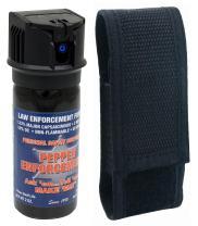 Pepper Enforcement Splatter Stream Police Grade 10% OC Pepper Spray - Max Strength Law Enforcement Formula - Flip Top Canister - 4 Year Shelf Life (1-Pack w/Belt Loop Holster)