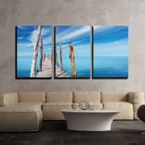 """wall26 - 3 Piece Canvas Wall Art - Wooden Pier on a Tropical Island, Sea and Blue Sky in Thailand - Modern Home Decor Stretched and Framed Ready to Hang - 16""""x24""""x3 Panels"""