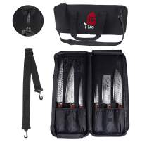TUO Knife Bag for Chef, Padded Knife Roll, Knife Case, Durable Knife Carrier, Canvas Knife Holder for Kitchen Tools, Utensil Pockets with Shoulder Strap & Handle, which with 12 slots and Zipped Pouch