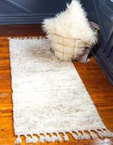 Unique Loom Hygge Shag Collection Solid Plush Cozy Ivory Runner Rug (2' 2 x 6' 0)
