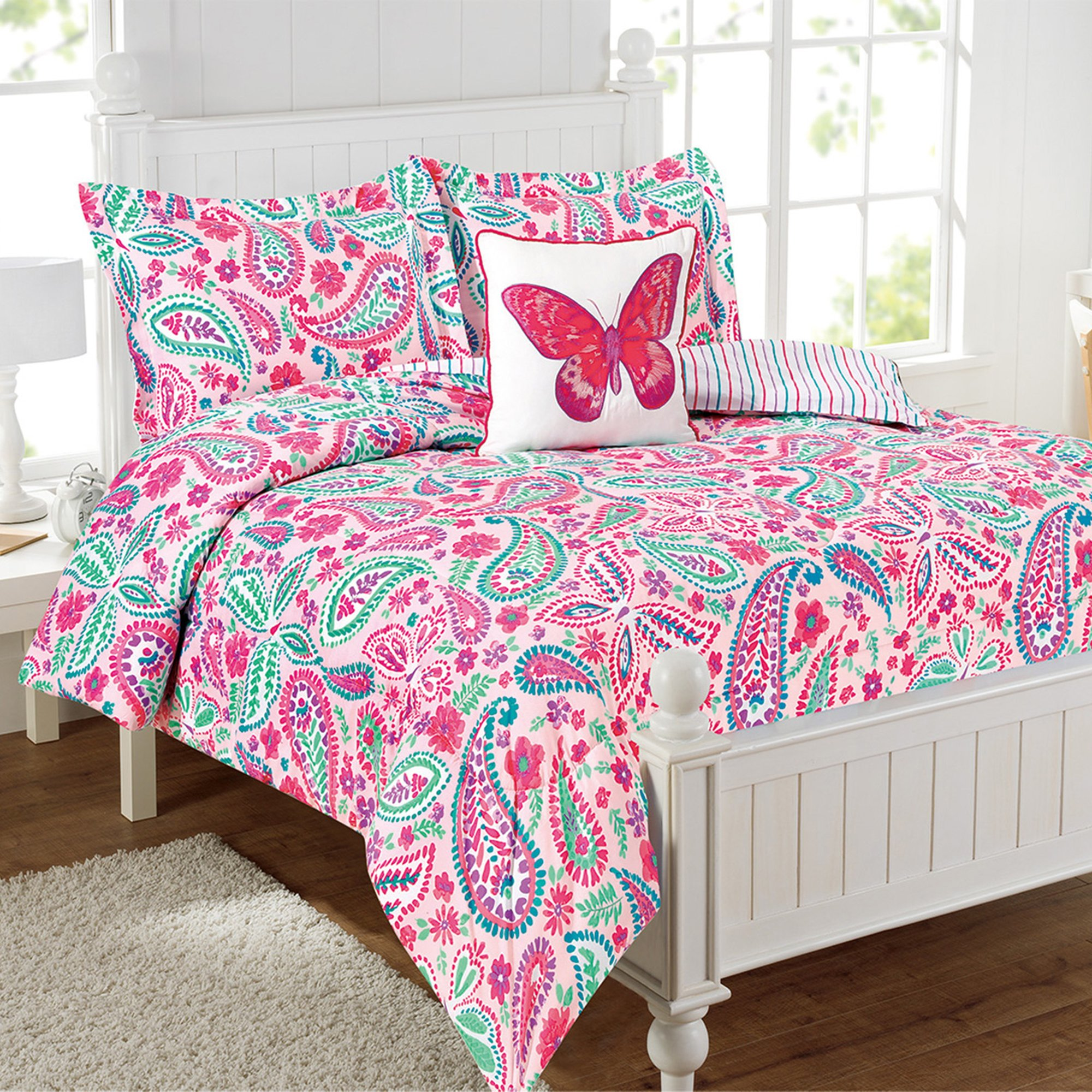 Mytex Watercolor Flutter 3-Piece Reversible Comforter Set Ultra Soft Microfiber, Butterfly, Flowers, Floral, Pink, Twin
