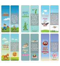 Creanoso Fun Idiomatic Expressions Bookmarkers for Kids (60-Pack) – Fun Learning Assorted Set – Premium Gift Stocking Stuffers for Boys, Girls, Young Readers