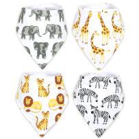 Stadela Baby 100% Cotton Bandana Drool Bibs for Drooling and Teething Nursery Burp Cloths 4 Pack Unisex Baby Shower Gift Set for Girl and Boy – Safari Africa Jungle Animal Elephant Giraffe Lion Zebra