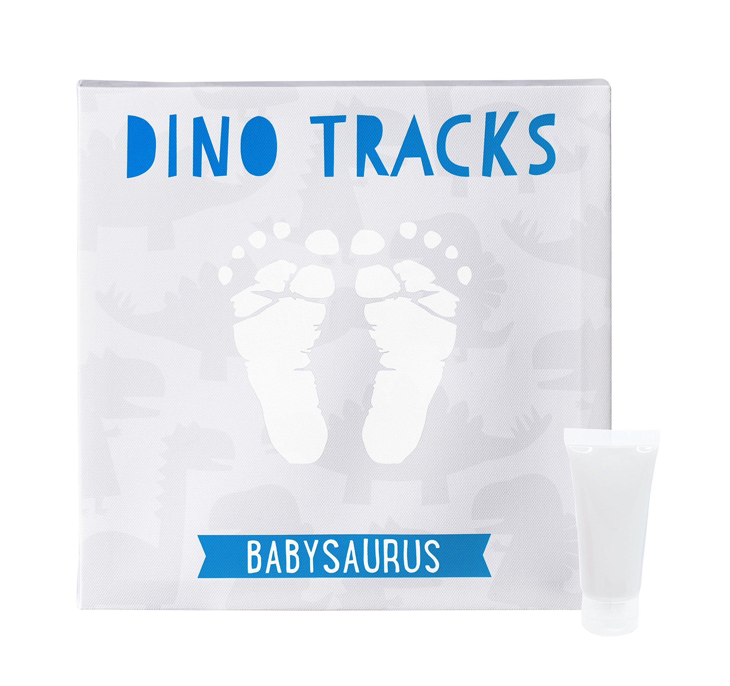 Pearhead Dino Tracks Babyprints Baby Handprint or Footprint Keepsake Wall Canvas and Paint Kit, Babysaurus Blue and Gray
