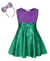Cotrio Mermaid Costume Girls Princess Dresses Sleeveless Fish Scale Dress with Bowtie Headband Halloween Cosplay Size 3T (2-3 Years, Purple Green, 100)