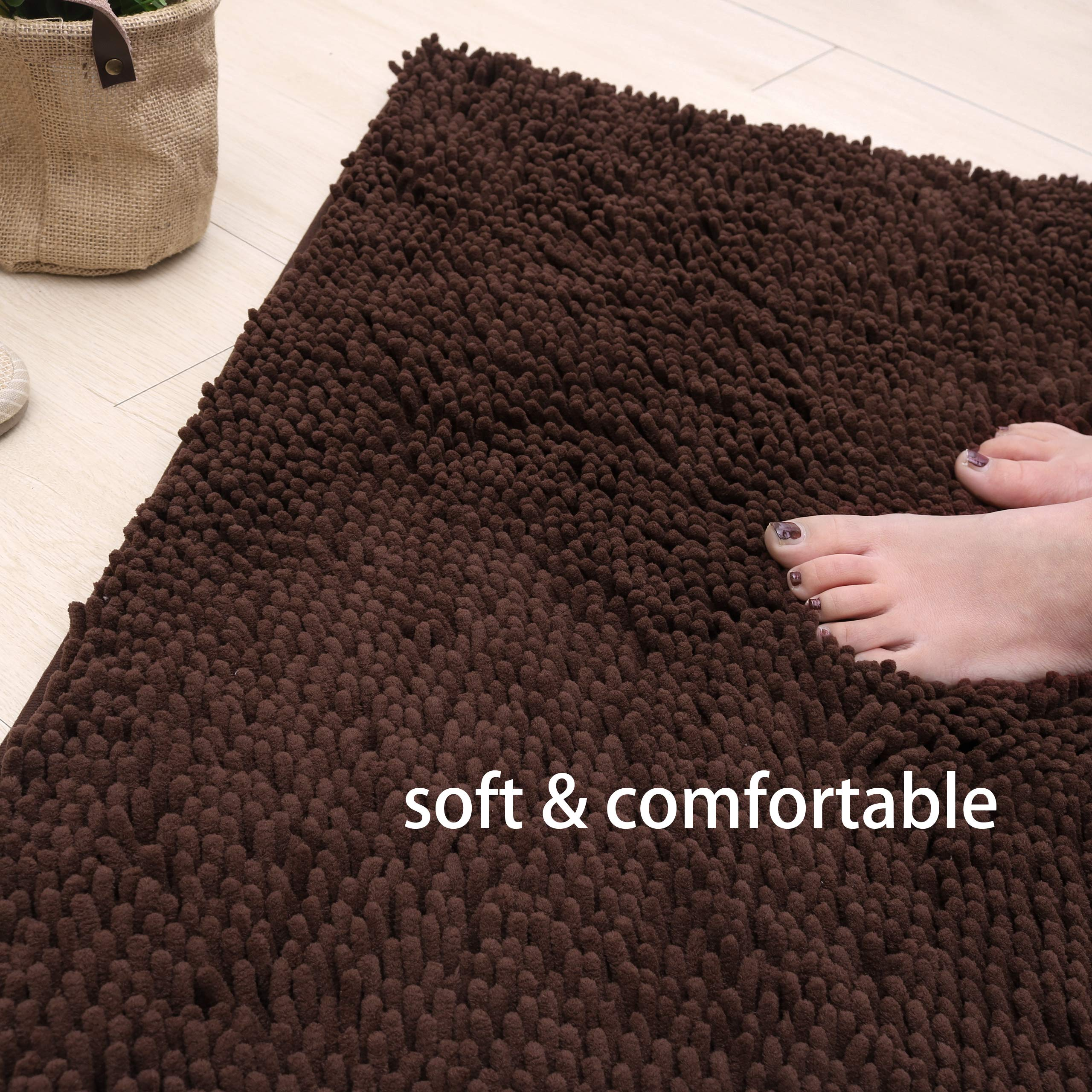 """X•SOAR-Soft and Cozy Chenille Bath Rugs,Non Slip Washable and Fast Dry Absorbent Shower Floor Mats for Bathroom (20""""×32"""" inch, Brown)"""