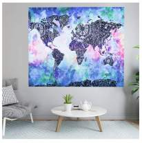 FOCUSSEXY Tapestry Map World Unit America Earth Asia Europe Ocean Tapestry Wall Hanging Watercolor Art Tapestry Hanging Ornaments
