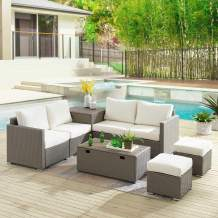 Tribesigns Sectional Sofa Couch Patio Furniture Set Outdoor Conversation Set 8 Pieces All-Weather Wicker Rattan Dining Table Chair with Ottoman, Comfortable Cushions, 2 Storage Tables (Gray+Beige)