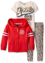 Limited Too Girls' Zip Up Hooded Sweatshirt, T-Shirt, and Jogger Set