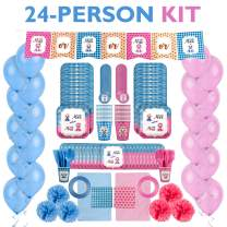 Baby Shower Gender Reveal Party Supplies Kit for Baby Boy or Girl Gender Reveal Decorations - Tableware Set for 24 People - Pink and Blue Balloons, Plates, Cups, Tablecloths, Banner and More