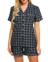 Ekouaer Womens Soft Sleepwear Short Sleeve Pajamas with Pj Shorts Set, Plaid-green, XX-Large
