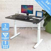 """Seville Classics AIRLIFT Pro S3 54"""" Solid-Top Commercial-Grade Electric Adjustable Standing Desk (51.4"""" Max Height) Table, White/Black"""