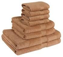 Beauty Threadz 100% Cotton 8 Piece Bath Towel Set (2 Bath, 2 Hand, 4 Washcloths) 500 GSM (Light Brown, 12 x 12, 16 x 28, 27x54)