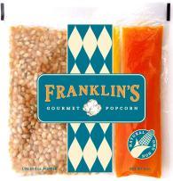 Franklin's Gourmet Popcorn All-In-One Pre-Measured Packs - 6oz. Pack of 24 - Butter Flavored Coconut Oil + Premium Butter Salt + Organic Corn, 100% Vegan - Best Movie Theater Taste – Made in USA