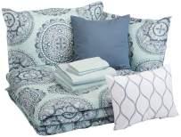 AmazonBasics 10-Piece Comforter Bedding Set, King, Sea Foam Medallion, Microfiber, Ultra-Soft