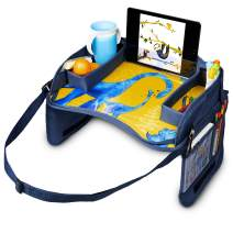 """JumpOff Jo – Kids Car Seat Travel Tray for Carseats, Booster Seats – Holds Toys, Snacks, Drinks, Art and Drawing Supplies, iPad, Tablet or Phone – 17"""" x 12"""" - Blue Dinosaurs"""
