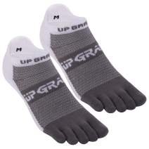 Toe Socks, Everyday Run Midweight Low Cut Ankle Lycra Toesocks with Heel Tab for Men Women