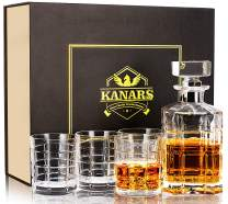 KANARS Whiskey Decanter Set, Crafted Crystal Decanter Set with 4 Glasses for Scotch, Bourbon, Vodka or Liquor, Unique Gift for Men