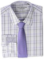 Nick Graham Men's Stretch Modern Fit Mini Plaid Dress Shirt and Solid Tie Set