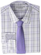 Nick Graham Men's Stretch Modern Fit Mini Plaid Dress Shirt and Solid Tie Set