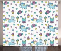 """Ambesonne Unicorn Cat Curtains, Girls Pattern with Hearts Stars Flowers Ice Cream Funny, Living Room Bedroom Window Drapes 2 Panel Set, 108"""" X 63"""", Blue"""