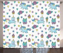 "Ambesonne Unicorn Cat Curtains, Girls Pattern with Hearts Stars Flowers Ice Cream Funny, Living Room Bedroom Window Drapes 2 Panel Set, 108"" X 63"", Blue"