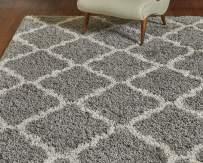 Gertmenian True Shags Platinum Label Geometric Gray Shag Rug 9x12 - Soft Olefin Yarn 2 Inch in Luxury Charcoal Tile Solid Color Area Rugs