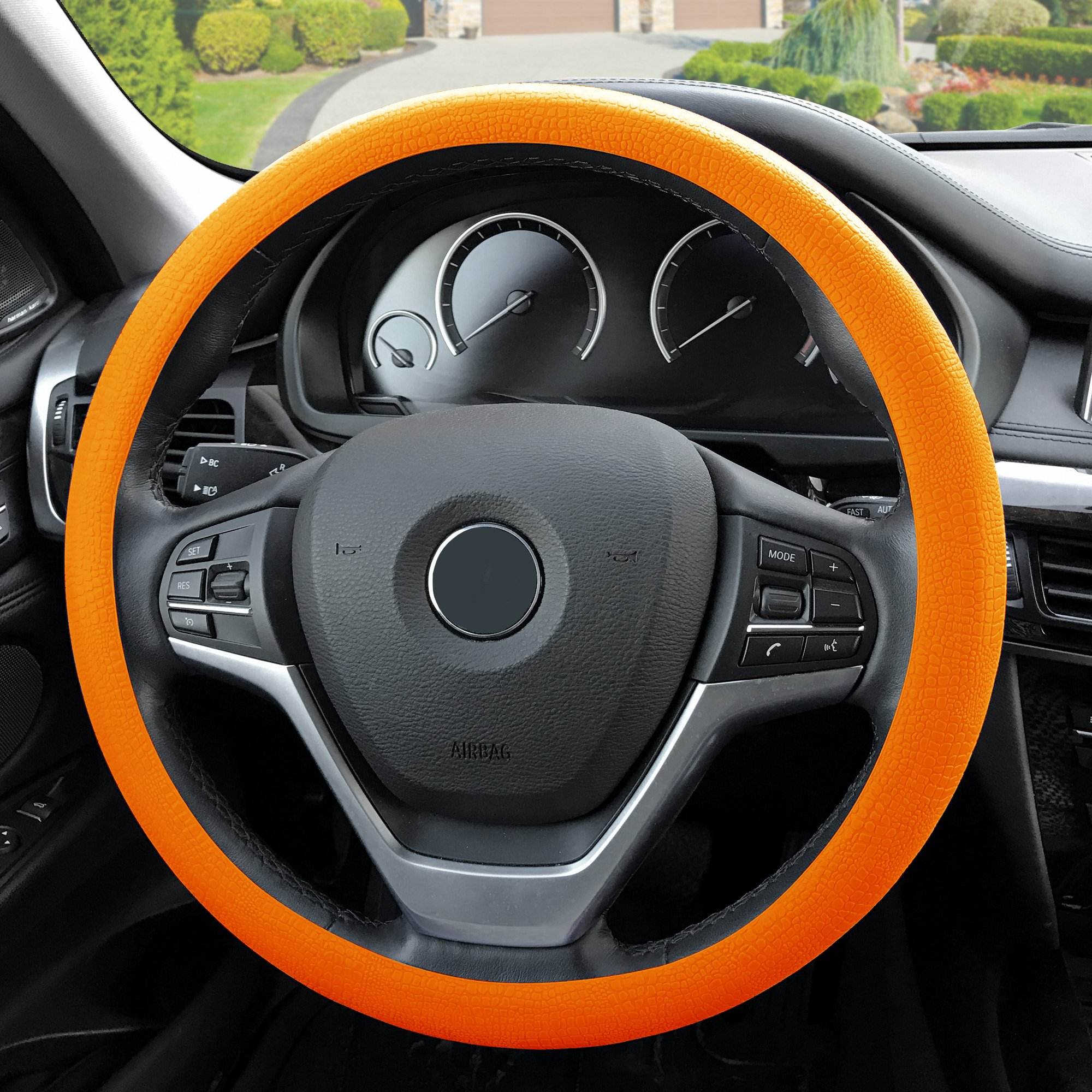 FH Group FH3001ORANGE Orange Steering Wheel Cover (Silicone Snake Pattern Massaging grip in Color-Fit Most Car Truck Suv or Van)