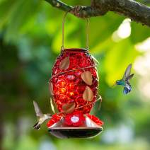 Birdream Glass Hummingbird Feeder for Outdoors 22 Ounces Nectar Capacity Unique Honeycomb Shape Decorative Red Bottle Wild Bird Feeder for Garden Yard Lawn Tree