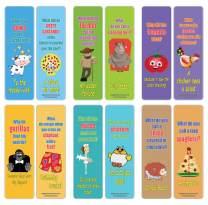 Creanoso Funny Jokes Series 3 Bookmarks for Kids (12-Pack) – Premium Gift Set – Awesome Bookmarks for Children, Boys, Girls, Teens – Six Bulk Assorted Bookmarks Designs