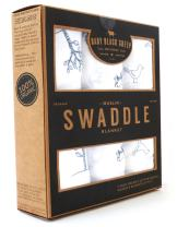 Organic Cotton Swaddle Blankets by Baby Black Sheep (3 Pack), Unisex, Xlarge, White & Gray