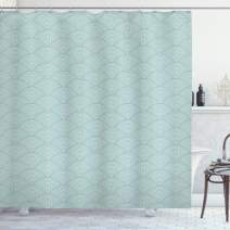 "Ambesonne Geometric Shower Curtain, Fish Scale Pattern Half Circles Dots Geometric Arrangement Circular Motifs, Cloth Fabric Bathroom Decor Set with Hooks, 75"" Long, Seafoam White"