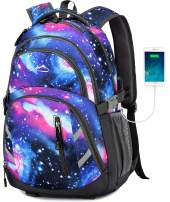 MOGGEI Galaxy Backpack Bookbag for School College Student Business Travel with USB Charging Port Fit Laptop Up to 15.6 Inch Luggage Chest Straps Night Light Reflective(Galaxy)
