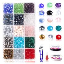 8mm Crystal Glass Rondelle Czech Beads Bulk-15 Colors Faceted Jewellery Colorful Briolette Beads with Beautiful Jewelry Box for Jewelry Making Craft(1050 Pcs)