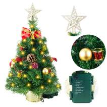 "Joiedomi 23"" Deluxe Prelit Tabletop Christmas Tree with Tree Topper for Best Home & Office Holiday Season Decoration"
